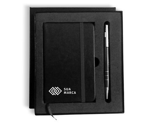 kit com caderno e caneta personalizado preto