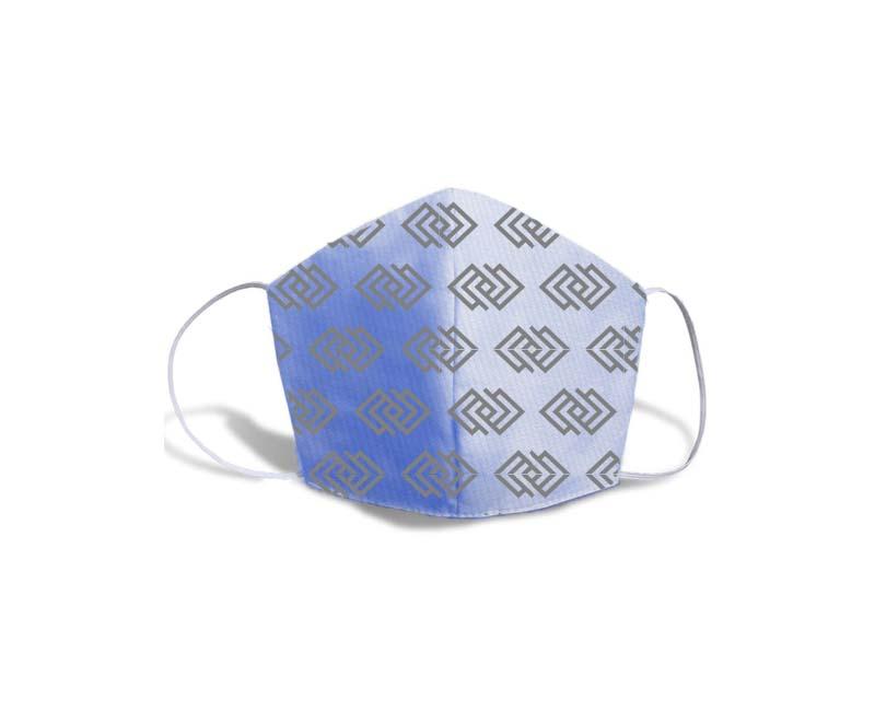 mascara fustao personalizada azul estampada