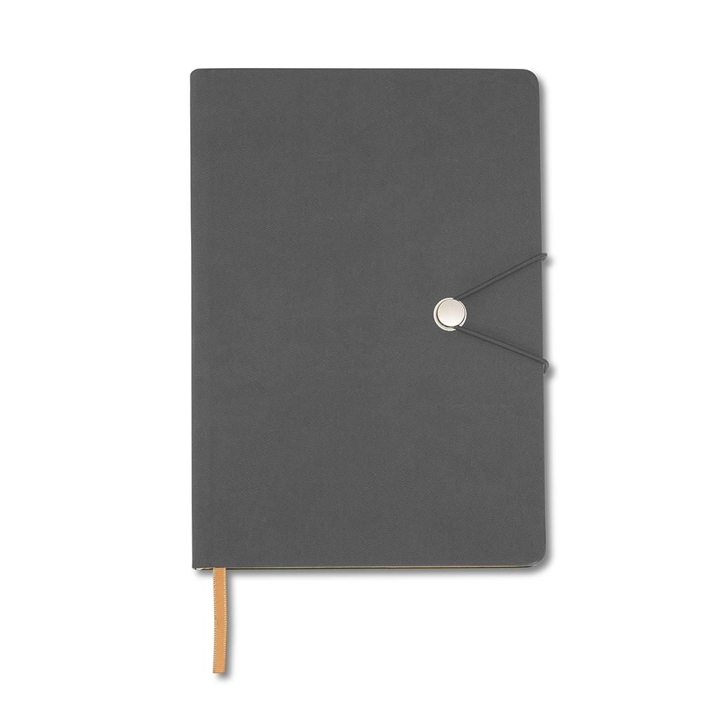 Caderneta Tipo Moleskine com Fecho CINZA